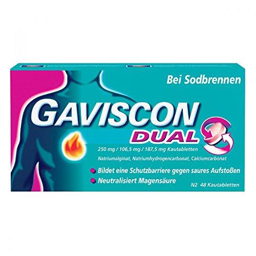 GAVISCON Dual 250 mg / 106,5 mg / 187,5 mg Kautabletten – Bei Sodbrennen und Magendruck – Wirkt bis zu 4 Stunden – Packung mit 48 Tabletten