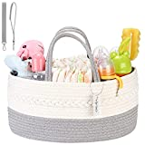 Hinwo Baby Diaper Caddy 3-Compartiment Infant Nursery Tote Storage Bin Portable Car Organizer Newborn Shower Gift Basket Corde de coton avec séparateur amovible pour couches et lingettes