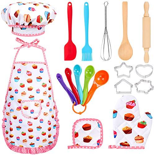 Tacobear 18 Pièces Kit de Cuisine Enfant Costume de Cuisine Ensemble Jeu de Chef Tablier de Cuisine avec Ustensiles Accessoires de Cuisine Comprend Tablier, Gants pour Enfant Cadeau Jouet