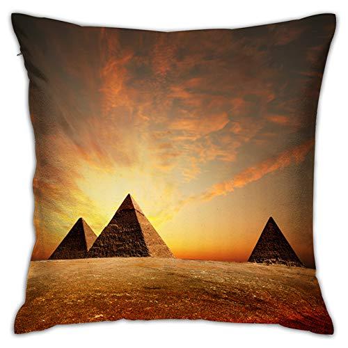 Gggo Cuadrado Funda de Almohada pirámides egipcias al Atardecer Fundas de cojín para Sala de Estar sofá, Dormitorio, decoración 45x45cm