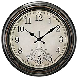 12 Inch Indoor Outdoor Wall Clock with Thermometer,Battery Operated Waterproof Clock,Bronze