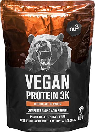 Batidos de proteínas veganas - Proteína vegetal 3K en polvo - de 3 componentes vegetales (guisante, girasol & arroz) - 1 Kg sabor chocolate - Para crecimiento y mantenimiento de masa muscular - de nu3