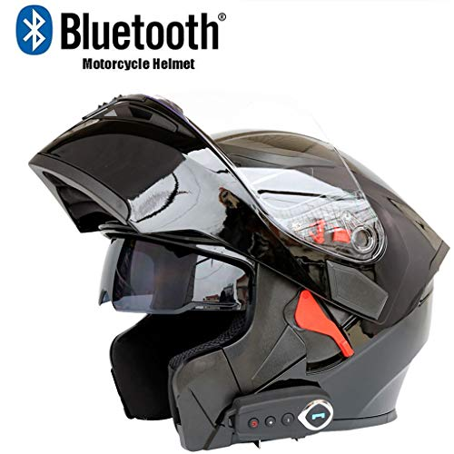 LIfav Bluetooth Motorcycle Helmet, D.O.T Certified Anti-Fog Double Mirror Bluetooth Helmet, with FM Automatic Answer Stereo Sound Quality, Best Gift,Black,L