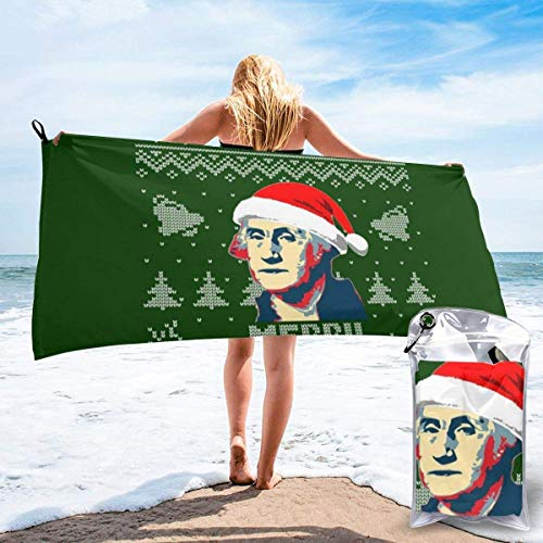 Merry Christmas George Washington Knit Pattern Microfiber Large Beach Towel, Convenient and Foldable, Equipped with Carabiner for Easy Storage, Soft Bath Towel, Quick-Drying Shower Towel