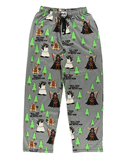Lazy One Animal Pajama Pants for Men, Men's Separate Bottoms, Lounge Pants, Funny, Humorous, Moose, Bear, Beaver (May The Forest Be with You, Large)