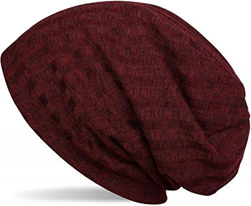 styleBREAKER warme fijn gebreide muts met gestreept breipatroon en zeer zachte fleecevoering, slouch longbeanie, unisex 04024108