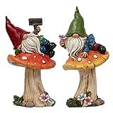 TERESA'S COLLECTIONS Figuras Jardin Exterior Enanos para Jardin Figura de Gnomo de Jardín 2 pzs Resistentes a la Intemperie de 17 cm sobre Setas En Resina de Gnomos de Jardín