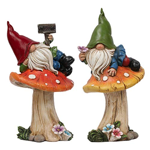 TERESA'S COLLECTIONS Statue da Giardino Gnomi da Giardino Figure 2 pz Resistenti alle Intemperie Figure Nane da Giardino 17cm Adagiate sui Funghi in Resina Gnomi da Giardino