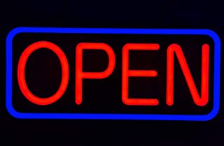 21'' X 10'' New Ultra Bright LED Neon Open Sign - Remote Controlled (21'' X 10'' Blue/Red)