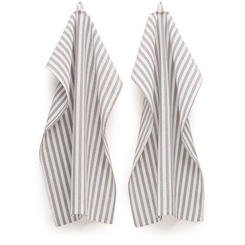 FILU Geschirrhandtücher 4er Pack Grau/Weiß gestreift (Farbe und Design wählbar) 45 x 70 cm - hochwertige Küchenhandtücher/Geschirrtücher aus 100% Baumwolle
