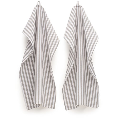 FILU Geschirrhandtücher 6er Pack (Leinen/Baumwolle) Grau/Weiß gestreift (Farbe und Design wählbar) 45 x 70 cm - hochwertige Küchenhandtücher/Geschirrtücher