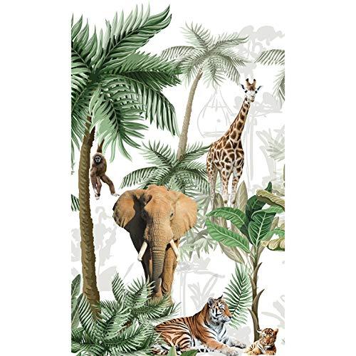 Plage Papel Pintado PANORAMICO Infantil Jungla con Animales, Verde, 1,5X 2,5m
