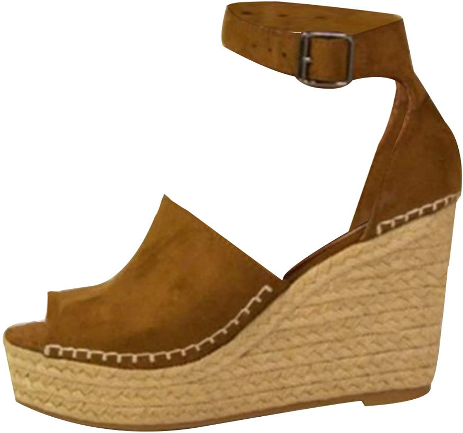Huicai Ladies Casual Beach shoes Wedge with Open Toe Lightweight Dress Sandals