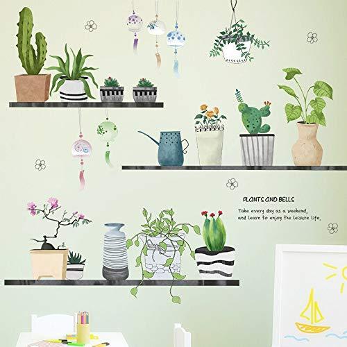 Planta creativa Cactus maceta etiqueta de la pared calcomana sala de estar dormitorio cocina decoracin de fondo vinilo pared calcomana arte mural