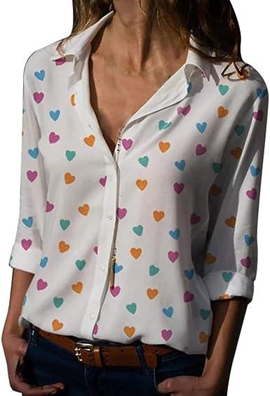 Blusa de Mujer,Verano Corazón Impresión Blusa Elegante Color sólido Manga Corta Blusa Camisa de Oficina Cuello en v Camiseta Tops Casual Fiesta ...