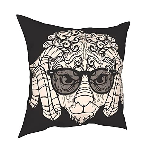 Throw Pillow Funda Fundas de Almohada 45x45cm Adorno Cara Line Art of Sheep, Ram con Cuernos, Anteojos, Gafas de Sol Decoración para decoración del hogar Oficina Sofá Holiday Bar Café Boda Coche