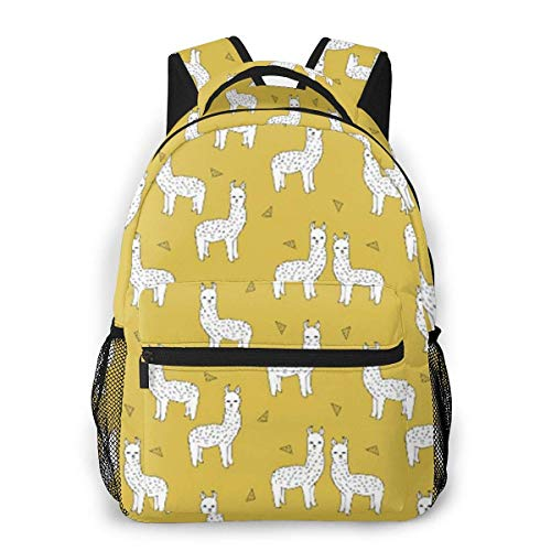 Men Women Daypack,Laptop Bags,Adult Travel Rucksack,Lightweight College Book Bags,Boys Girls Casual Backpack,Alpaca Mustard Yellow
