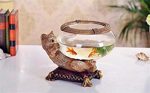 Uncle Sam LI - Kreative Persönlichkeit Harz Kitten Aquarium Glas Aquarium Goldfish Bowl Büroeinrichtungsartikel