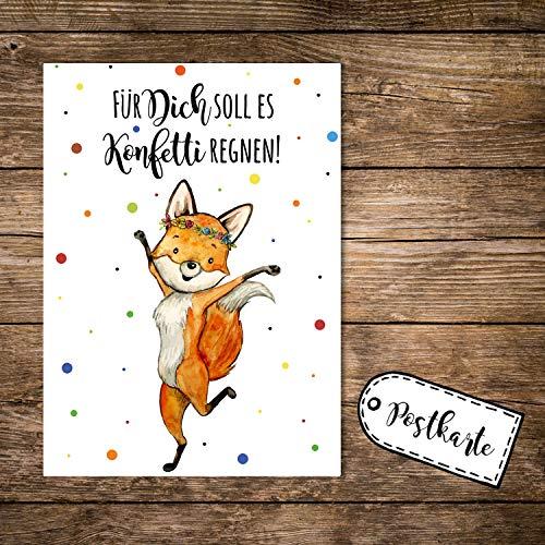 ilka parey wandtattoo-welt A6 Postkarte Print Fuchs Füchschen Spruch Für Dich soll es Konfetti regnen Karte Grußkarte Punkte pk251 - ausgewählte Größe: *1 Stück*