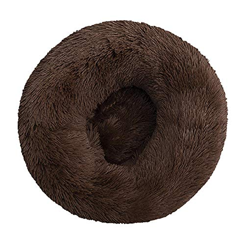 Cama de Mascotas de Lujo de donas de Felpa Cama - calmante Cama de Gato para Perros Mascotas Relieve Mullido Donut Matchet 60cm-Dark Brown