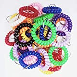 Kbraveo 40PCS Multicolor Plastic Stretchable Spiral Bracelet Wrist Coil Key Chains, Wrist Band Key Ring Chain for Office, Workshop, Shopping Mall, Sauna, Outdoor Sport