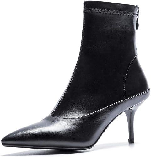 MISS&YG Frauen Sexy Stiletto Spitz Stiefelies Leder Zurück Rei rschluss Stretch Damenstiefel