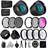 Professional 58MM Lens Attachments & Filters Accessory Bundle Kit for Canon EOS Rebel T8i T7 T7i T6i T6S T6 T5i T5 T3i SL3 SL2 SL1 EOS 90D 80D 77D 70D 9000D 800D 760D 7D DSLR Camera, 22 Accessories