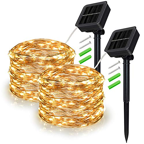 Outdoor Solar String Lights, 2 Pack 33FT 100LED Waterproof Solar Powered Fairy Lights Warm White, 8 Modes Solar Copper Wire Fairy Lights for Xmas, Patio, Yard, Tree, Garden, Wedding, Party, Lawn