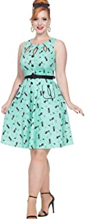 Voodoo Vixen KITTY MINT Retro Kitty Flare Dress Green L