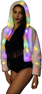 SAOMAI Womens Light Up Costume LED Faux Fur Coat Flash Light for Halloween,Party,Xmas.