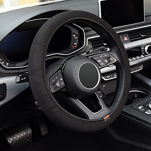 ZHOL 1 PCS Elastic Stretch Car Steering Wheel Cover, Universal 15 Inch, Microfiber Breathable Ice Silk, Warm in Winter and Cool in Summer, Anti-Slip, Odorless, Black