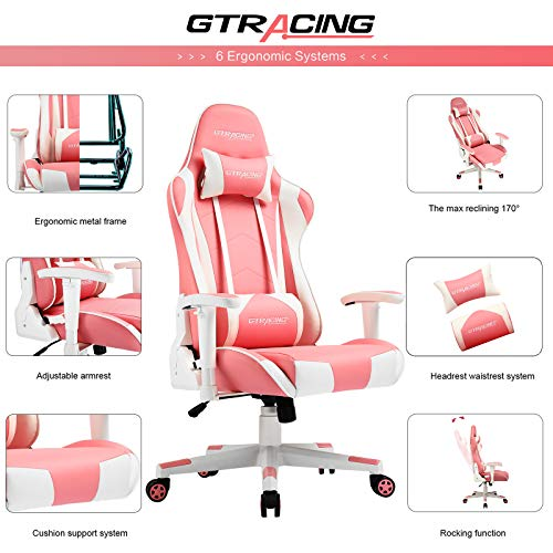 Gtracing Gaming Chair Racing Office Computer Ergonomic Video Game Chair Backrest and Seat Height Adjustable Swivel Recliner with Headrest and Lumbar Pillow Esports Chair (Pink)