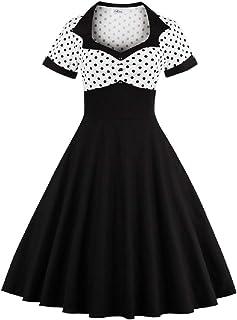 Yacun Women Vintage Dress Polka Dot Cocktail Swing Dress Rockabilly 1940s 50s