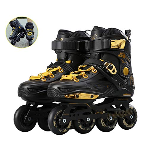 XJBHD Inline Skates for Adult Single Row Roller Blades Professional Inline Speed Skating Shoes Carbon Fiber Beginner Sports Outdoors Fitness for Men and Women Roller Skates Black gold-37
