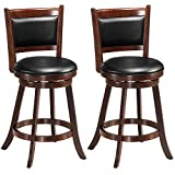 COSTWAY Bar Stools Set of 2, 360 Degree Swivel, Accent Wooden Swivel Seat Counter Height Bar Stool, Leather Upholstered Design, PVC Cushioned Seat, Perfect for Dining and Living Room (Height 24')