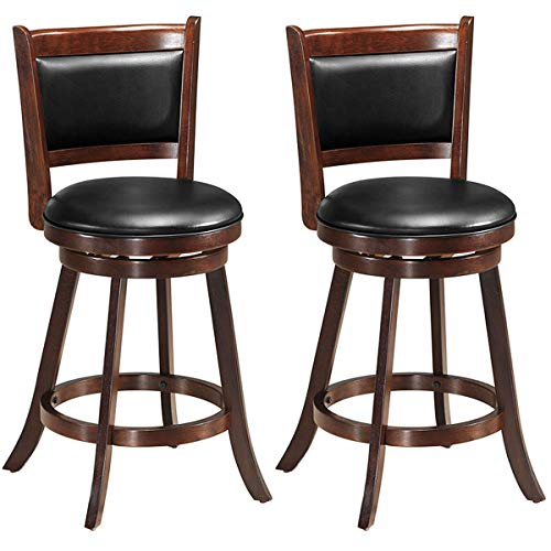 COSTWAY Bar Stools Set of 2, 360 Degree Swivel, Accent Wooden Swivel Seat Counter Height Bar Stool, Leather Upholstered Design, PVC Cushioned Seat, Perfect for Dining and Living Room (Height 24