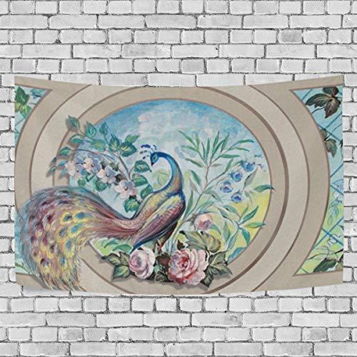 JSTEL Paon et de Fleurs Tapisserie Murale Décoration à Suspendre pour Appartement Home Decor Salon Table Couvre-lit Couvre-lit Dortoir 100 x 150 cm, Multicolore, 150 x 130 cm