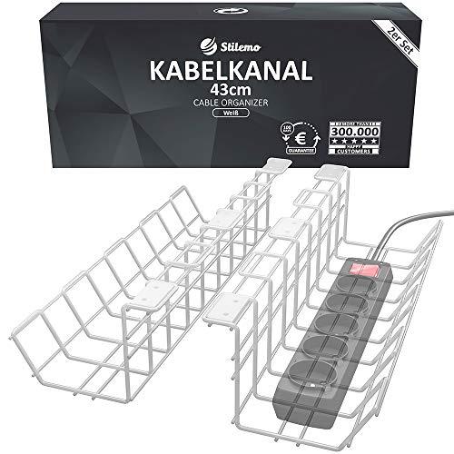 Kabelkanal Schreibtisch für Ordnung am Arbeitsplatz - Kabelmanagement Schreibtisch TÜV Rheinland geprüft - Kabelhalter Kabelwanne Tisch 2er Set extra groß - 43 x 10,5 x 11 cm