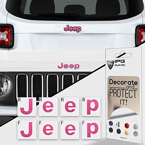IPG for Jeep Renegade Limited 2015-2020 Front and Rear Emblem Overlay Decal Stickers - Emblem Do it Yourself Stickers Set Personalize Your Renegade Limited (Pink)
