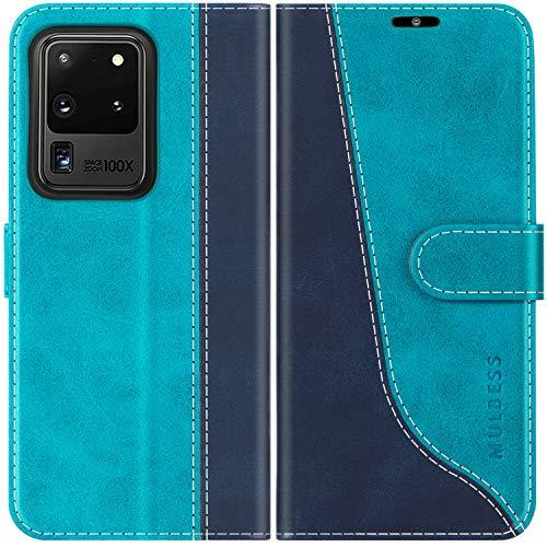 Mulbess Handyhülle für Samsung Galaxy S20 Ultra Hülle Leder, Samsung Galaxy S20 Ultra Handy Hüllen, Modisch Flip Handytasche Schutzhülle für Samsung Galaxy S20 Ultra 5G, Mint Blau