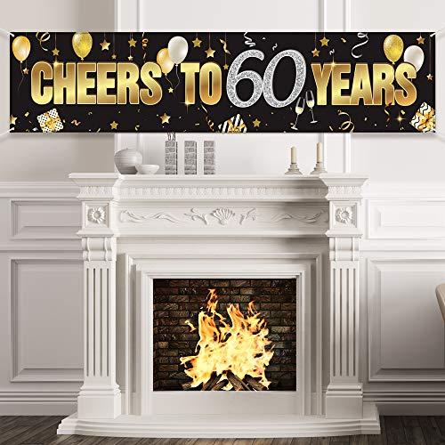 60. Geburtstag Banner, Alles Gute zum 60. Geburtstag Prost auf 60 Jahre Geburtstag Zeichen Gold Glitzer Geburtstag Banner, Jubiläum Feier Hintergrund Party Dekoration Lieferungen für 60 Geburtstag