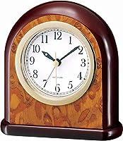 WFL クロック リビングルームのインテリアの寝室のためのテーブルクロックバスルームヴィンテージの小さな机の時計電池が動作するアナログ目覚まし時計ノンティッキングサイレントヨーロッパのレトロ装飾の木材 最新の