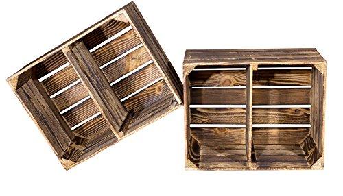 """Flambierte Kiste für Schuh-und Bücherregal """"quer""""- Obstkiste Johanna mit Zwischenbrett Holzkiste Kistenregal Regalkiste Obstkistenregal - flammbiert flambiert dunkel rustikal 50x40x30cm"""