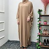 fancy Vestido de oración para mujer, de una pieza, Abaya musulmán, vestido islámico, maxi Abaya Kaftán con vestido hiyab de longitud completa, champán.