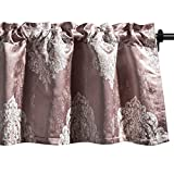 VOGOL Pink Valances for Windows, Faux Silk Luxury Jacquard Curtain Valances for Girls Room, 52' Wide x 18' Long, Rod Pocket, One Panel, White Floral in Pink