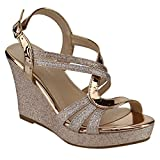 Forever FQ22 Women's Glitter Strappy Wrapped Wedge Heel Platform...