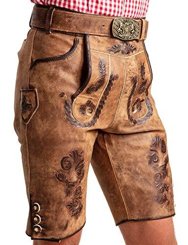 SYMPHONIE WESTERWALD Bayerische Herren Trachten Lederhose mit Trachtengürtel + Hosenträger, speckig, antik Look, braun, Gr. 52