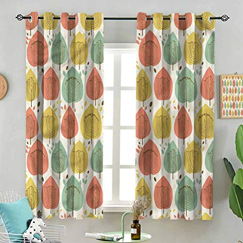 Fade Resistant Curtain Scandinavian Style Flowers W72 x L63 Inch (2 Panels) for Sliding Door