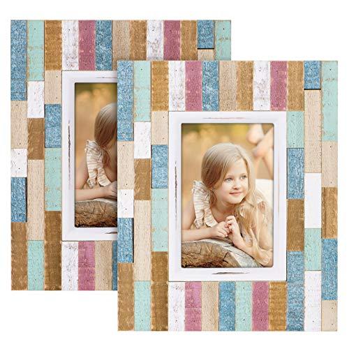 SRIWATANA Marco de fotos de madera de 10 x 15 cm, 2 unidades, diseño rústico de rayas con cristal de alta resolución para mesa y montaje en pared