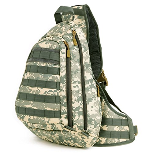 Cinmaul Tactical Military Sling Chest Pack Bag Molle Daypack Laptop Zaino ACU Camouflage